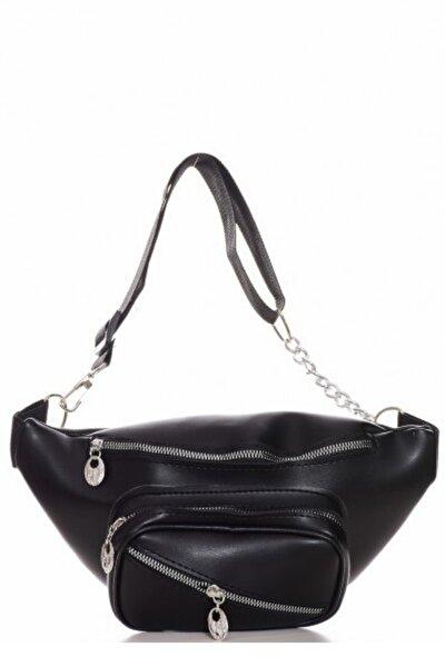 Siyah Çok Gözlü Bel çantası