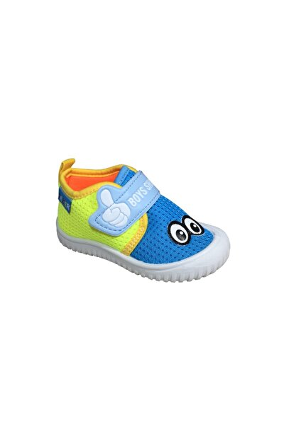 Erkek Çocuk Mavi -Sarı  Keten Anaokulu Kreş Ayakkabısı 3034Sneaker