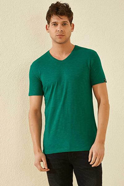 Düz V Yaka Koyu Yeşil Erkek Tshirt T08ER-87836_1