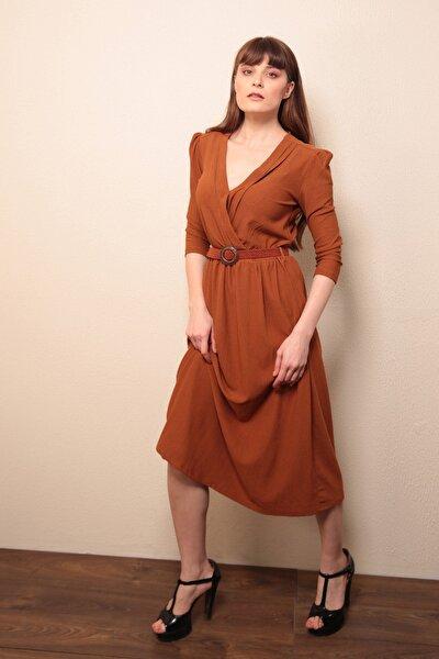 Kadın Taba Kruvaze Yaka Kemerli Elbise  20600024D1B