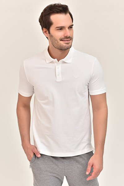 Beyaz Erkek Polo Yaka T-Shirt GS-8982