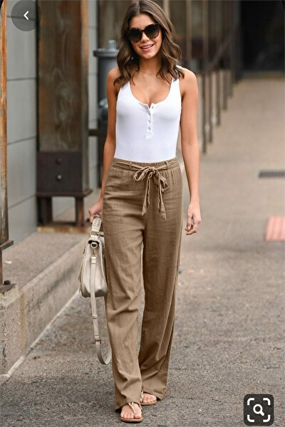 Beli Lastikli Kuşak Detaylı Bej Keten Pantolon