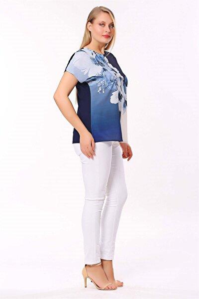 Kadın Lacivert Dijital Baskı Düşük Kol Bluz