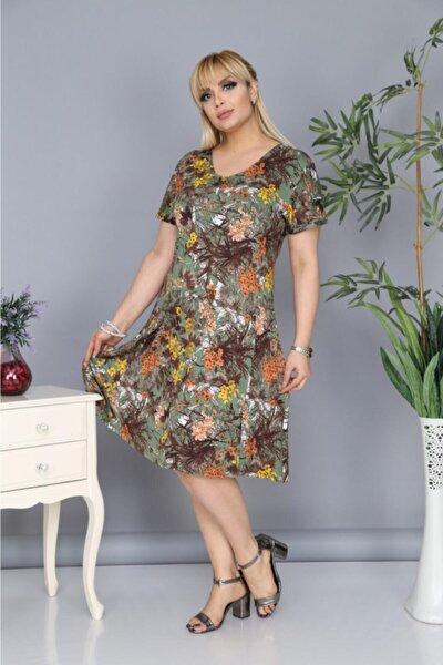 Kadın Yeşil Büyük Beden Çiçek Desen Belden Oturtmalı Elbise
