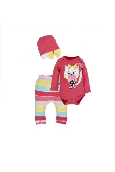 Kız Bebek 6-9 Ay Renkli Çizgili Kedicik 3 Lü Takım %100 Pamuk