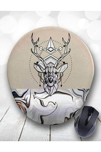 Çizgisel Şaman Geyik Bilek Destekli Mouse Pad