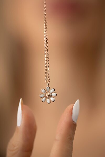 Papatya Model Rose Kaplama Gümüş İtalyan Kolye
