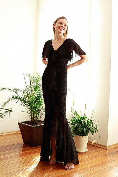 Siyah Volan Detaylı  Abiye & Mezuniyet Elbisesi TPRSS20AE0307