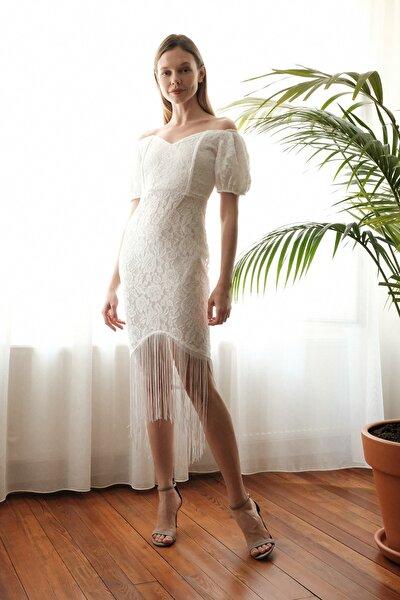 Ekru Püskül Detaylı  Elbise TPRSS20EL2859