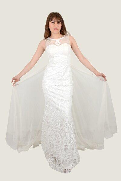 Kadın Uzun Abiye Beyaz Tül Detaylı