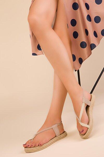 Bej Kadın Sandalet 15018