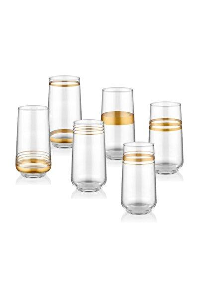 Lınes Su Bardağı Uzun 6 Lı Set -Gold