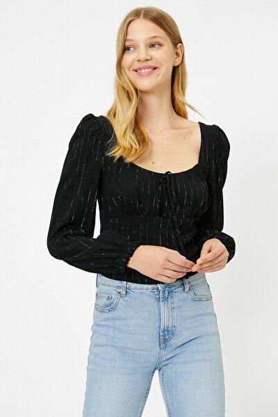Kadın Sarı Sim Detaylı T-Shirt