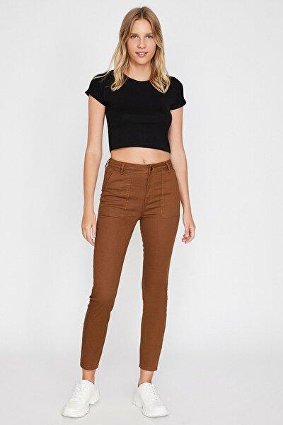 Kadın Kahve Cep Detaylı Pantolon 0KAL41118MW