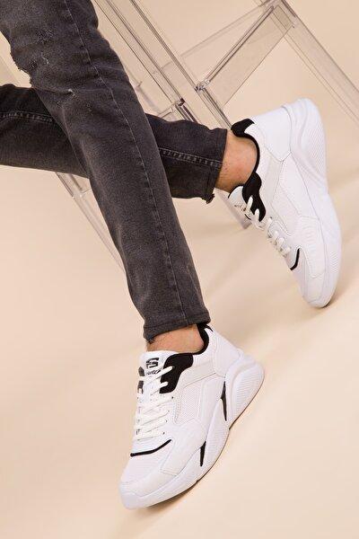 Beyaz-Siyah Erkek Sneaker 3011