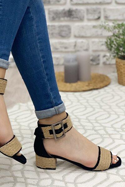 Siyah Süet Sandalet Kadın Klasik Topuklu Ayakkabı