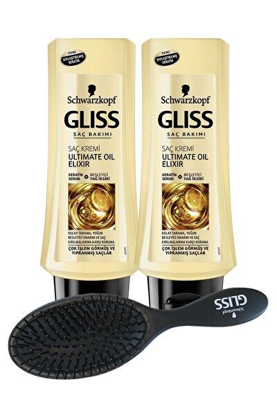 Schwarzkopf Glıss Ultımate Oıl Elıxır Saç Kremi 360 ml X 2 Adet + Saç Fırçası