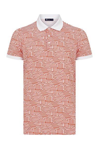 Turuncu Desenli Polo Yaka Tişört