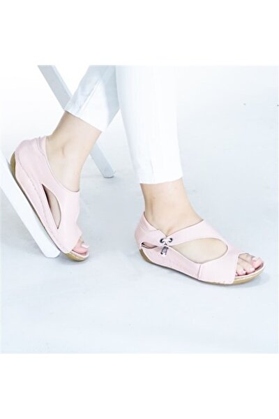 Kadın Hakiki Deri Pudra  Sandalet