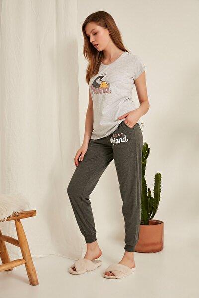 Kadın Kısa Kol Pijama Takım0011220000 Gri Melanj