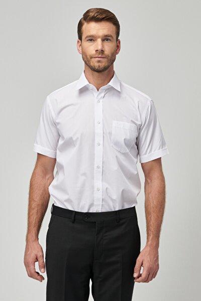 Erkek Beyaz Regular Fit Kısa Kollu Gömlek