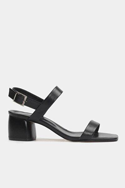 Hakiki Deri Siyah Kadın Topuklu Sandalet