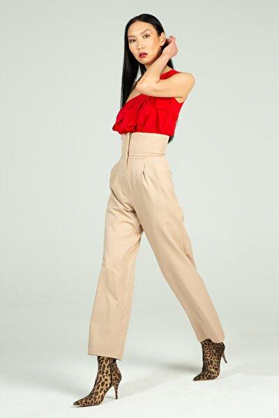 Kadın Bej Yüksek Bel Pantolon