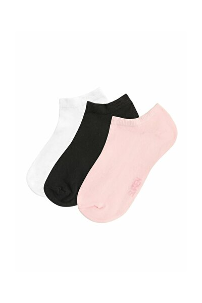 3 lü Paket Kadın Çorabı  - Siyah Beyaz Pembe