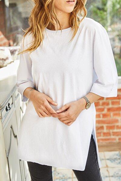 Kadın Beyaz Boyfriend Basic T-Shirt 9kxk1-42874-01