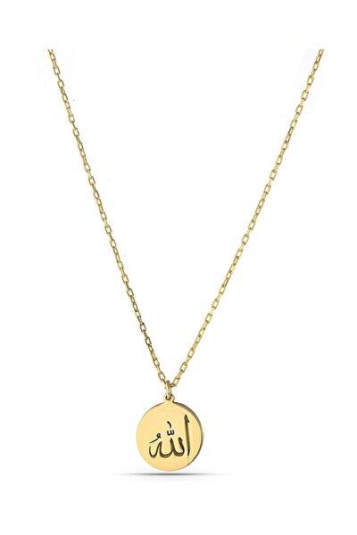 Minimal Allah Yazılı Gümüş Kolye Kadın Altın Taşsız