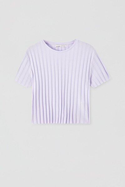 Kadın Geniş Fitilli Basic T-Shirt 05238366