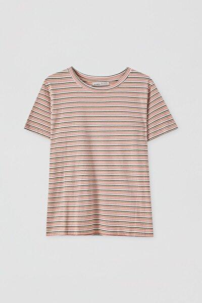 Kadın Yatay Çizgili Basic T-Shirt 05236353