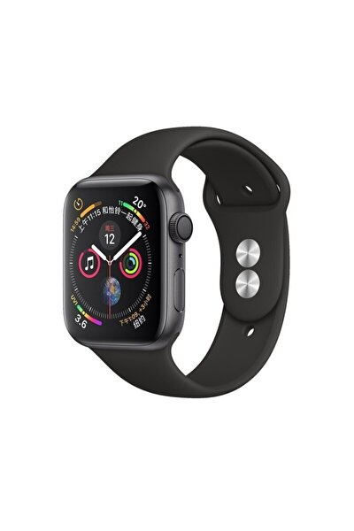 Apple Watch Silikon Kordon Kayış Seri 7 - 6 - Se - 5 - 4 - 3 - 2 - 1 - 42mm 44mm - Siyah
