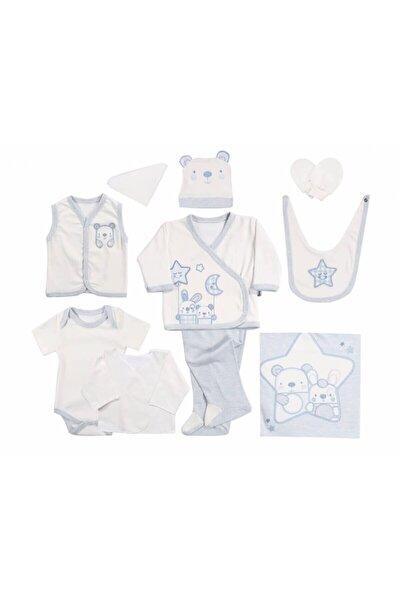 Erkek Bebek Mavi Friends Yıldızlı Ayılı 10 Parça Hastane Çıkışı