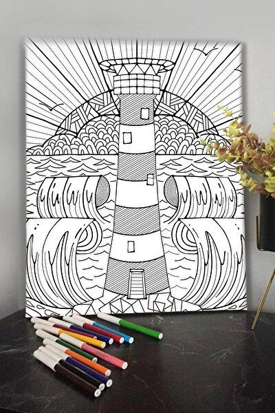 Deniz Feneri 40x30cm Çocuklar Için Özel Boyanabilir Tablo Tuval Mandala 12li Keçeli Kalem Hediyeli