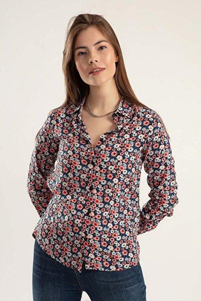 Kadın Çok Renkli Kadın Çiçek Baskılı Uzun Kollu Gömlek PTTY20S-155