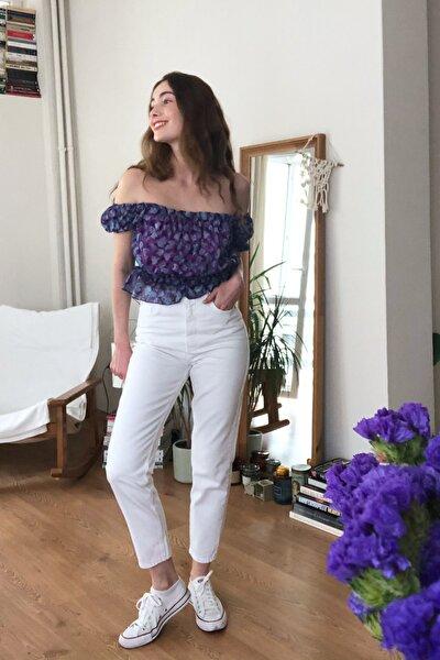 Beyaz Yüksek Bel Mom Jeans TWOSS20JE0414
