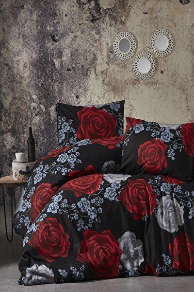 Toprak Ev Elegant  %100 Pamuk Çift Kişilik Siyah Kırmızı Nevresim Takımı Desen:9178