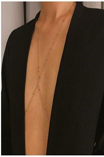 Kararmaz Kadın Mini Top Boncuklu Stylish Vücut Zinciri, Bel Zinciri, Vücut Aksesuarı - Gold