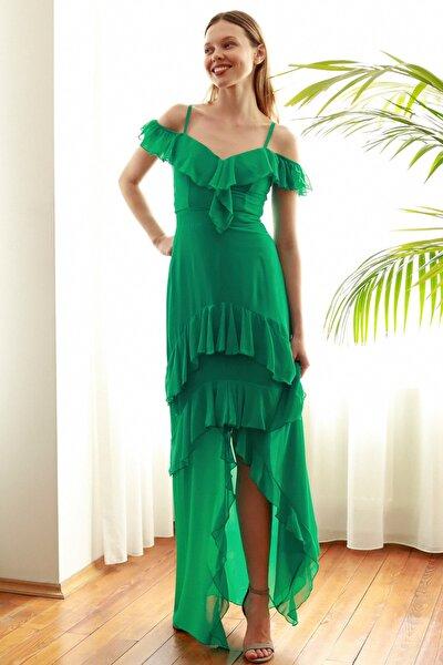 Yeşil Volanlı  Abiye & Mezuniyet Elbisesi TPRSS20AE0170