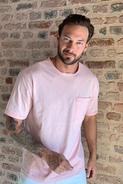 Pembe Erkek Geniş Kesim Fit  T-Shirt TMNSS20TS1053