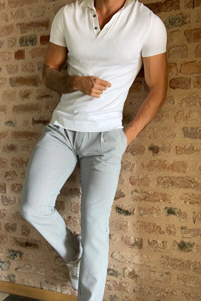 Lacivert Erkek Slim Fit Seer Sucker Pantolon TMNSS20PL0519