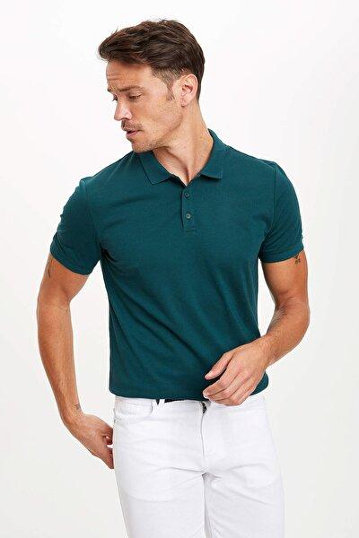 Erkek Yeşil Güvende Kal Polo Yaka Basic Slim Fit T-Shirt