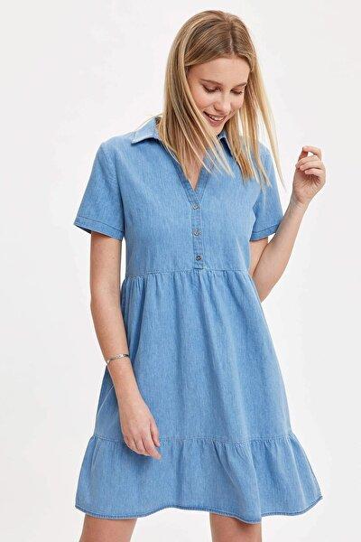 Kadın Mavi Pile Detaylı Düğmeli Regular Fit Jean Elbise O0424AZ.20SM.NM39