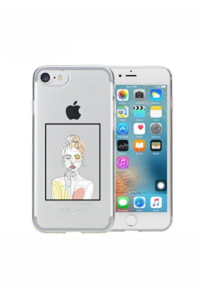 Iphone 8 Line Art Şeffaf Telefon Kılıfı