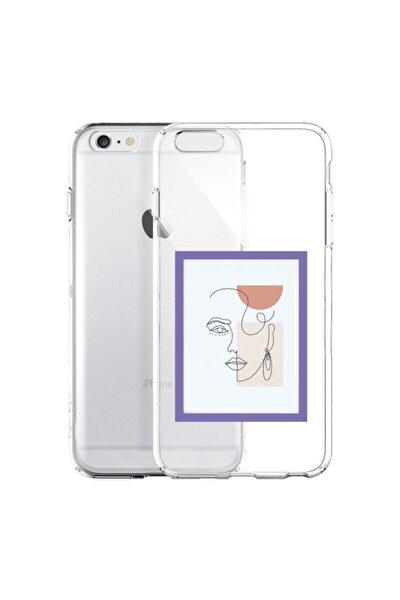 Iphone 6 / 6s Line Art Window Şeffaf Telefon Kılıfı