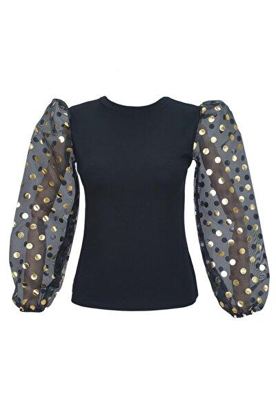 Kadın Kolları Puantiye Detaylı Tüllü Bluz