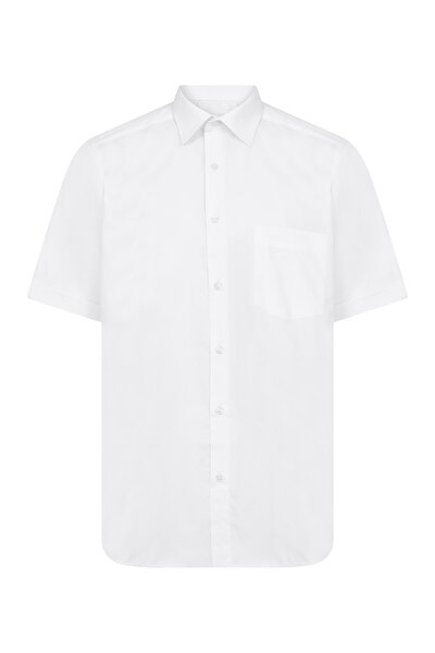 Beyaz Cepli Kısa Kol Klasik Gömlek