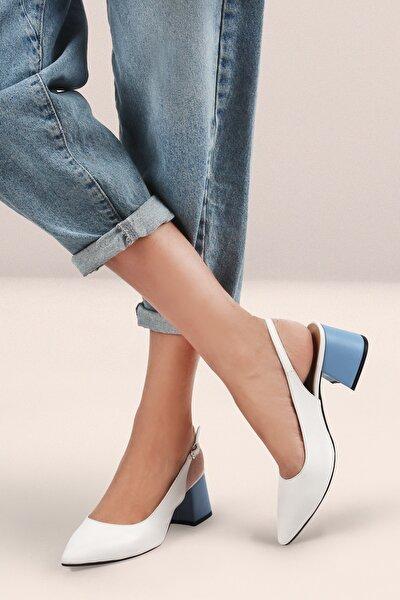 Beyaz Kadın Topuklu Arkası Açık Ayakkabı