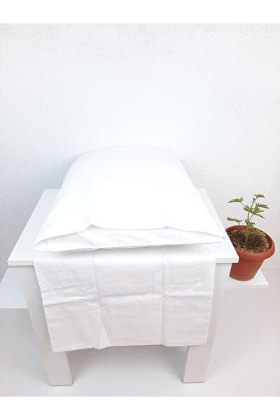 Ekonomik Otel Yastık Kılıfı 50x70 cm Kapaklı Beyaz 12 Ad